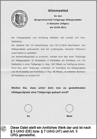 Ein Stimmzettel zum Bürgerentscheid