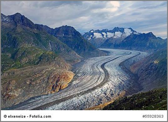 Der Aletschgletscher in den schweizer Alpen