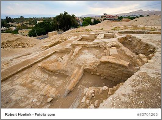 Uralte Gebäudereste im israelischen Jericho