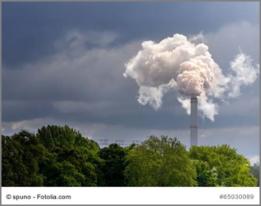 Der Schornstein bläst das Gas CO2 in die Luft - die Bäume filtern es wieder heraus