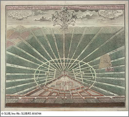 Sonnengleich: ein alter Stadtplan von Karlsruhe