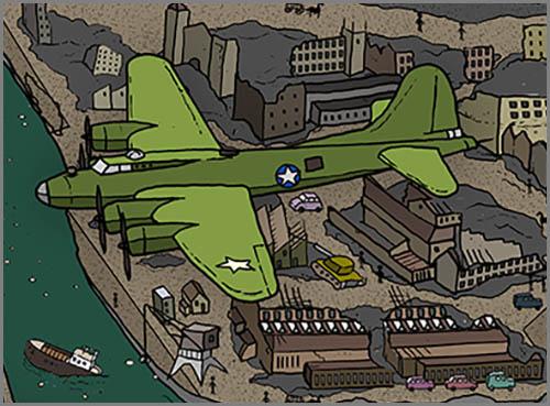 Ein Bombenangriff im zweiten Weltkrieg