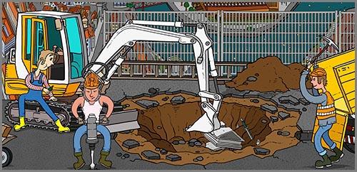 Erdbauarbeiten auf der Baustelle