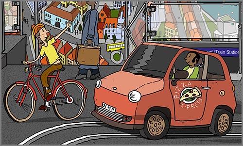 Macht sich mit Handzeichen verständlich: ein Fahrradfahrer in der Stadt