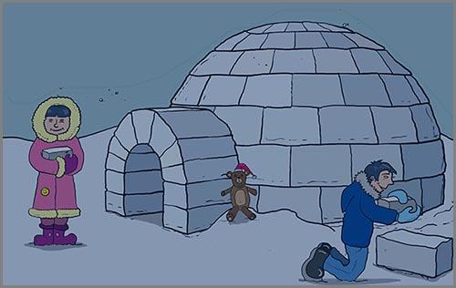 Eine Hütte aus Schnee und Eis: das Iglu