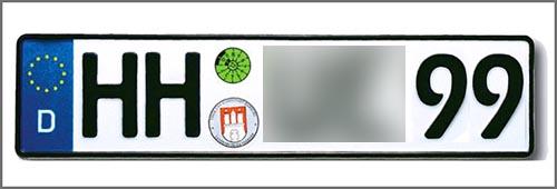 Autokennzeichen der Hansestadt (H) Hamburg (H)