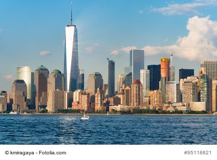 The skyline of downtown Manhattan in New York City on a beautiful summer day