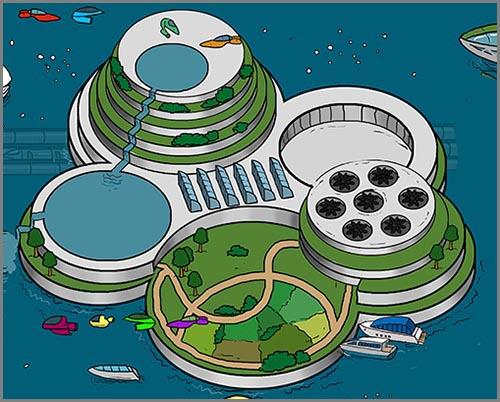 Vielleicht die Rettung vor dem steigenden Meeresspiegel: schwimmende Städte