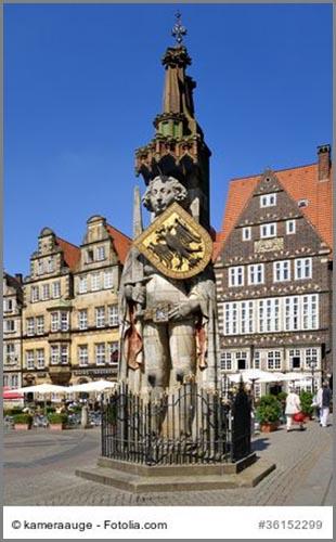 Zeichen des Stadtrechts: die Rolandstatue in Bremen