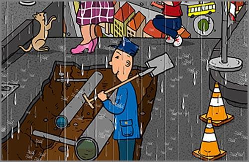 Sorgen für die Wasserversorgung und Abwasserentsorgung: Wasserrohre