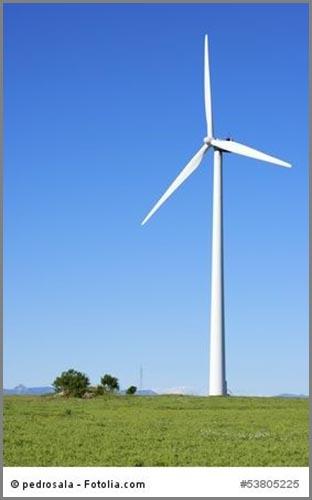 Nutzung der Windkraft heute: ein Windkraftwerk zur Stromgewinnung