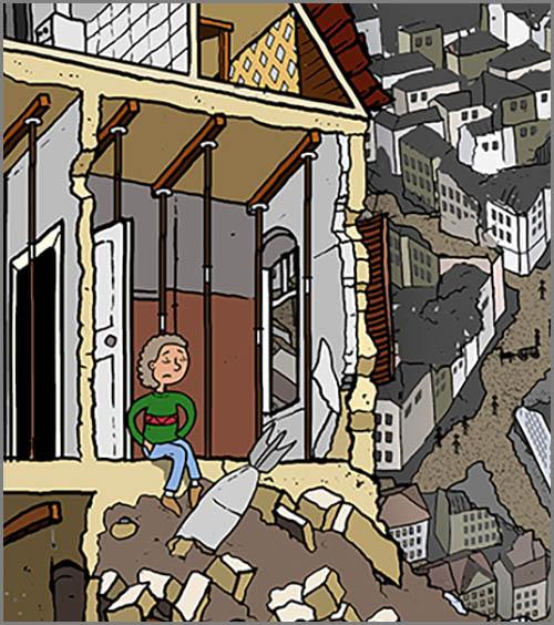 Wohnungsnot: nach dem zweiten Weltkrieg sind viele Häuser zerstört