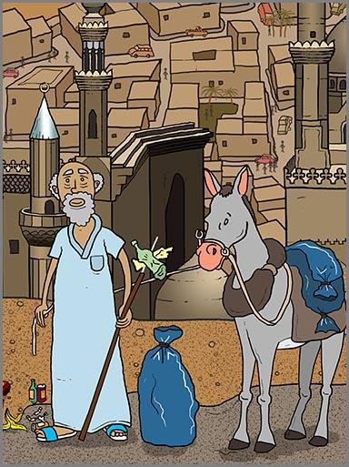 Ein Zabbalin sammelt Abfall in Ägypten
