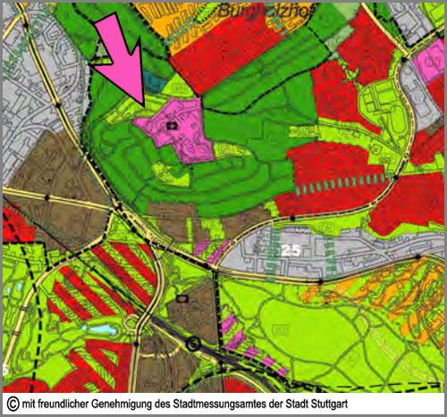 Im Flächennutzungsplan lila: Gemeinbedarfsflächen