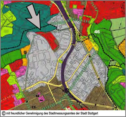 Im Flächennutzungsplan grau: Gewerbegebiete