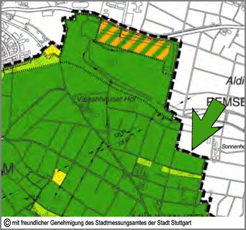 Im Flächennutzungsplan grün: Grünflächen