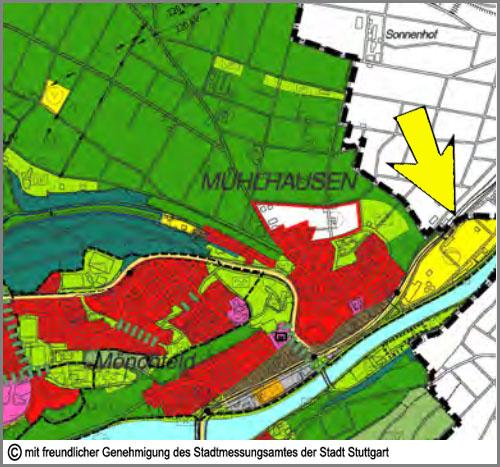 Im Flächennutzungsplan gelb: Flächen für Ver- und Entsorgungsanlagen