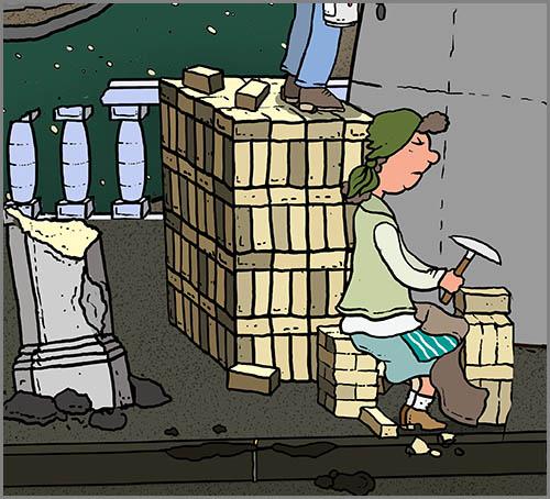 Eine Trümmerfrau bei der Arbeit