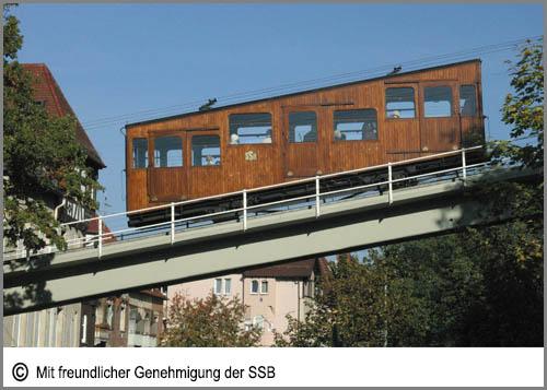 Eine Standseilbahn in Stuttgart